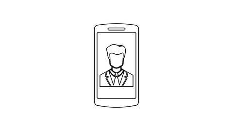 Grey Smartphone with contact on screen line icon on white background. Incoming call. Human on phone screen. Call contact. 4K Video motion graphic animation