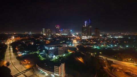 Night cityscape scene of Johor Bahru City in Johor, Malaysia. Timelapse
