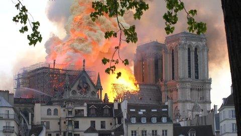 France, paris, april 15th 2019 cathedral notre-dame de paris in fire