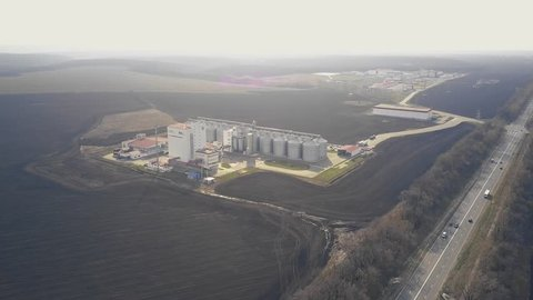 Granaries for storing wheat and other cereal grains. Aerial shot.