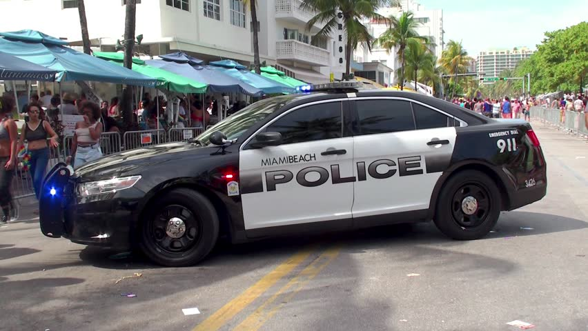 Miami Beach April 7 Miami Police Car With Emergency Lights