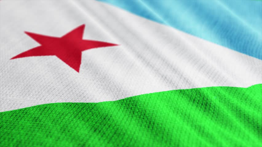 Djibouti flag is waving 3D illustration. Symbol of Djiboutian an national on fabric cloth 3D rendering in full perspective. | Shutterstock HD Video #1027743710