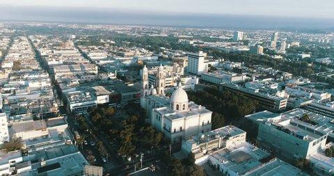 Aerial shot of the Antigua Cathedral Basilica de Nuestra Sanora del Rosario in the city center of Culiacan Sinaloa.