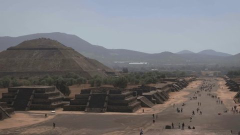 View of the Pyramid of the Sun and the Avenue of the Dead from the Pyramid of the Moon in Mexico.