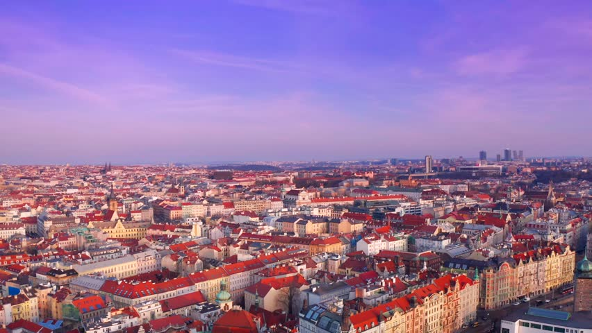 Beautiful Sunset Timelapse Aerial Drone Footage Above Prague Vltava River View And Old Town #1027866290