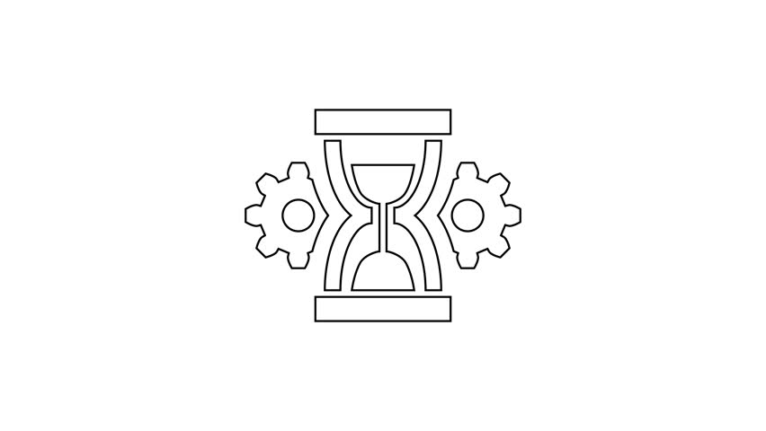 Grey Hourglass and gear line icon on white background. Time Management symbol. Clock and gear icon. Productivity symbol. 4K Video motion graphic animation | Shutterstock HD Video #1027906130