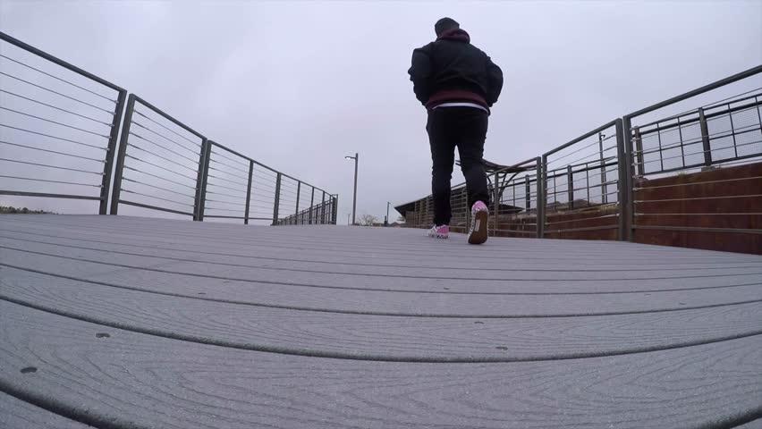 Person walking on bridge in Las Vegas | Shutterstock HD Video #1027916960