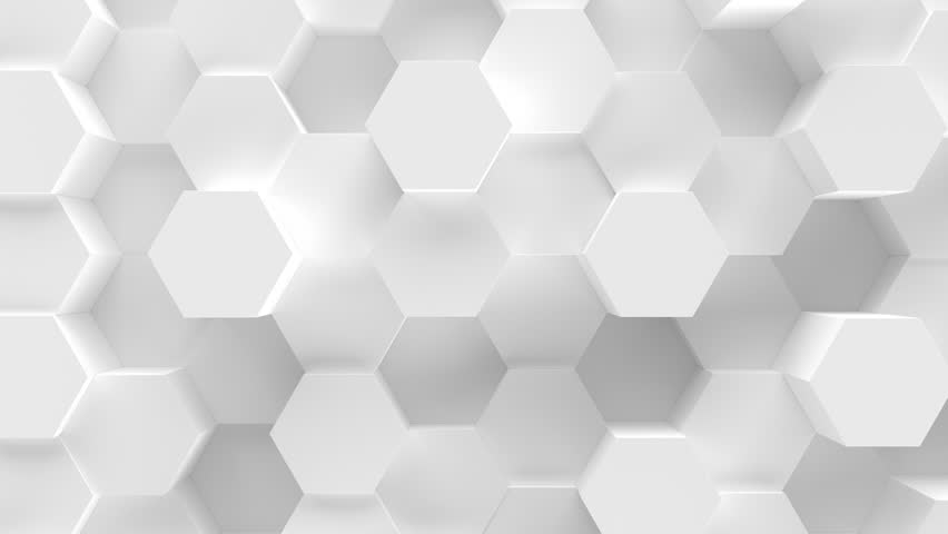 Abstract Honeycomb Background Loop wide angle. Light, minimal, clean, moving hexagonal grid wall with shadows. Loopable 4K UHD Animation.