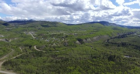 Aerial view of the town of Faro in northern Canada