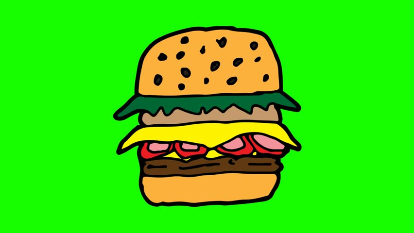 Kids drawing green screen with theme of hamburger | Shutterstock HD Video #1027947770