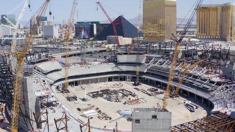Las Vegas, Nevada/USA - March 24, 2019:  Construction progress at the Las Vegas Stadium, future home of the Raiders NFL Football Team, starts to reveal some major progress towards completion.