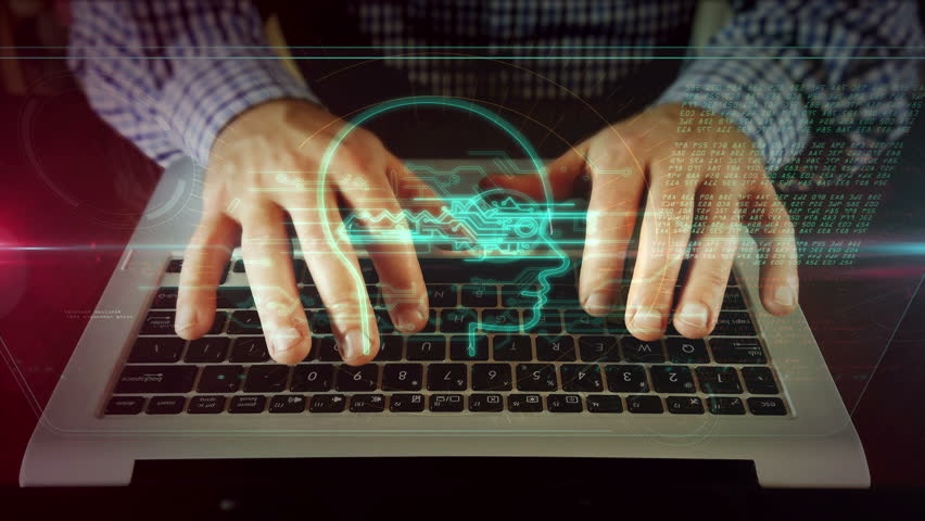 Man typing on laptop keyboard with digital privacy symbol on hologram screen. Front view of writing hands. Personal data protection, password safety, private key and cyber attack prevention concept. | Shutterstock HD Video #1028016980