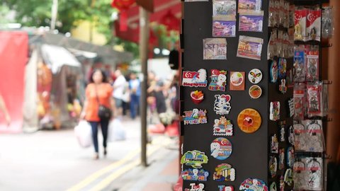 Singapore / Singapore - April 20, 2019: Souvenir refrigerator magnets on sale in Chinatown, Singapore