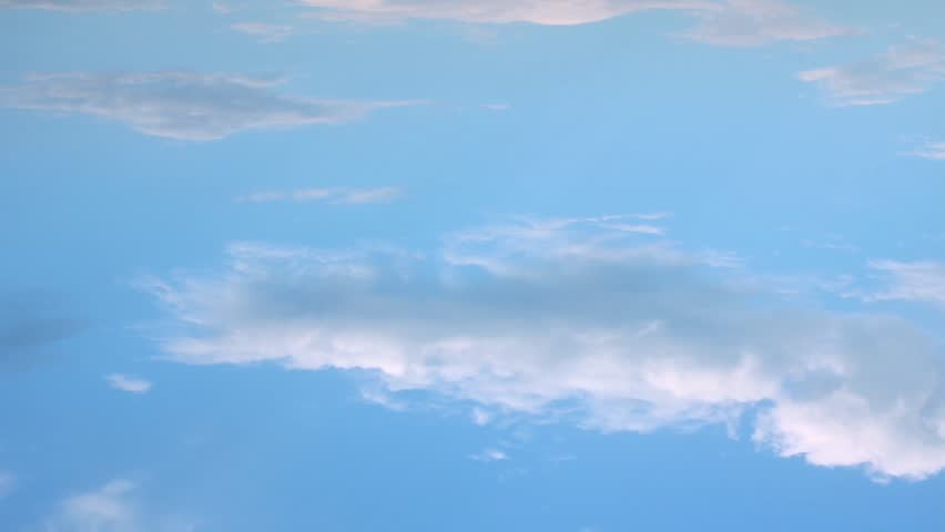 Time lapse aerial clouds, blue beautiful clean sky in horizon, very nice colourful weather, soft building, forming cloudscape, panoramic view. #FHD. #1028072030