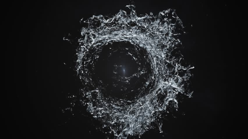 Water splash circle swirl background 4k video in black background