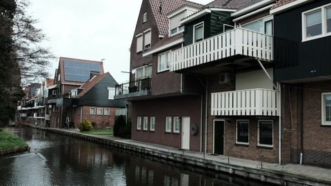 Beautiful architecture Volendam. Typical small Dutch houses facades in Volendam, Netherlands