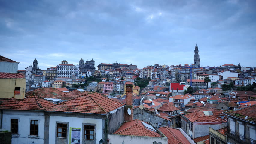 Time Lapse Aerial View of Oporto City Skyline Residential Building Rooftops Dusk