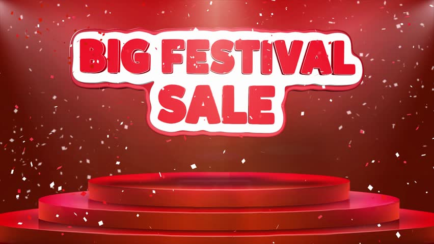 Big Festival Sale Text Animation on 3d Stage Podium Carpet. Reval Red Curtain With Abstract Foil Confetti Blast, Spotlight, Glitter Sparkles, Loop 4k Animation. | Shutterstock HD Video #1028118920