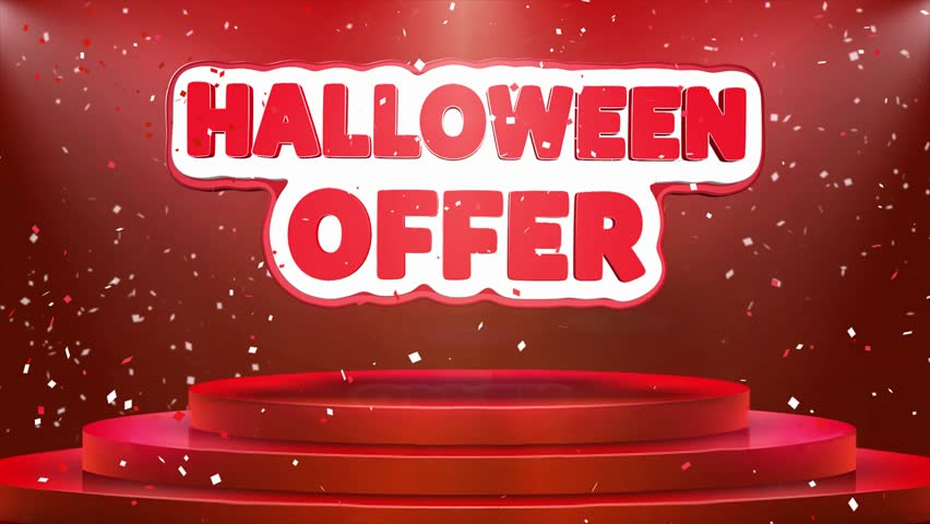 Halloween Offer Text Animation on 3d Stage Podium Carpet. Reval Red Curtain With Abstract Foil Confetti Blast, Spotlight, Glitter Sparkles, Loop 4k Animation. | Shutterstock HD Video #1028130170