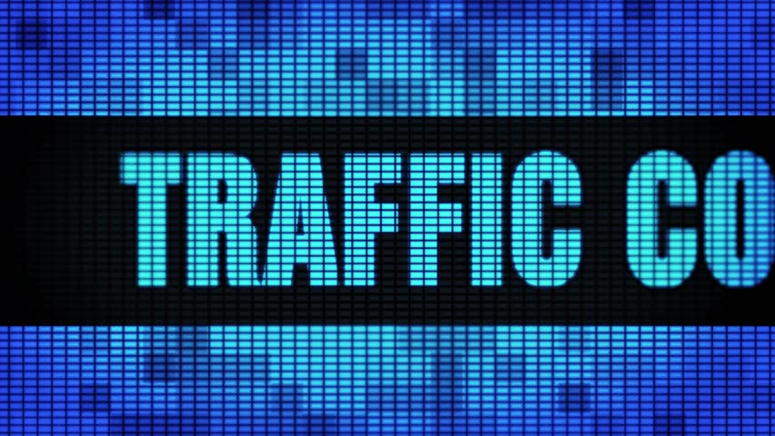 Traffic Conversion Text Scrolling on Light Blue Digital LED Display Board Pixel Light Screen Looped Animation 4K Background. Sign Board, Blinking Light, Pixel Monitor, LED Wall Pannel