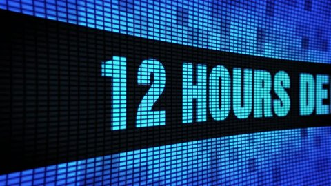 12 Hours Delivery Side Text Scrolling on Light Blue Digital LED Display Board Pixel Light Screen Looped Animation 4K Background. Sign Board, Blinking Light, Pixel Monitor, LED Wall Pannel