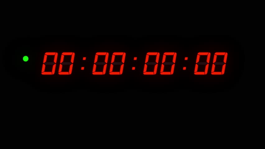 One minute of glowing led 24 fps timecode readout with red digits and green blinking dot on black background. | Shutterstock HD Video #1028259200