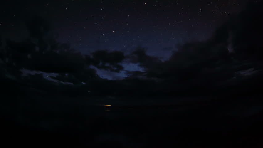 4K. Starry Night over the clouds over the salted lake Durgun Nuur, Mongolia. Ultra HD, 4096x2304   Shutterstock HD Video #1028398880