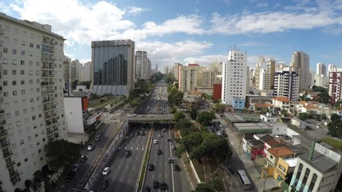 Aerial View of Avenue 23 May, Sao Paulo, Brazil