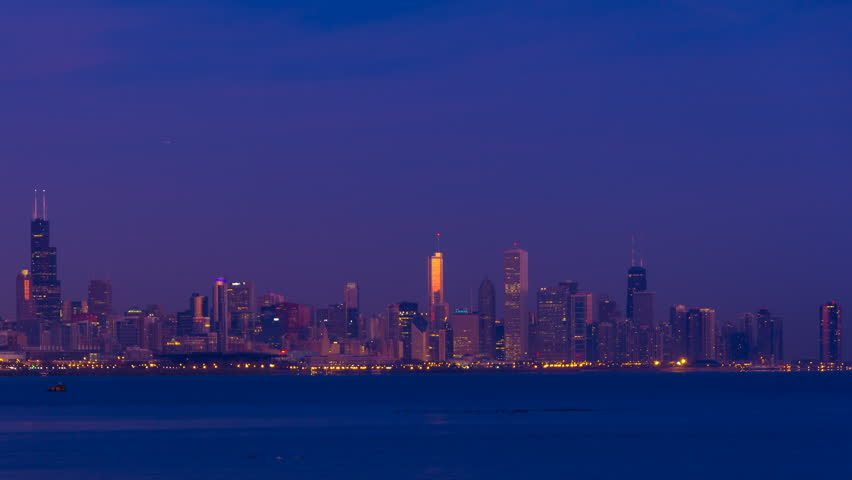 Sunrise over Chicago, with Lake Michigan and landmark skyscrapers