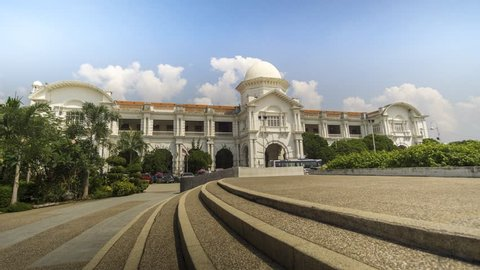 Ipoh, Malaysia: April 15, 2019 - 4K timelapse footage of a central train station in Ipoh, known as Ipoh Railway Station during the daytime.