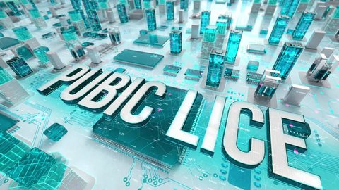 Pubic Lice with medical digital technology concept