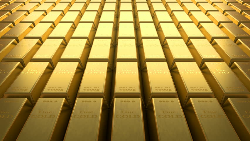 Loopable video of aligned rows of fine gold bars. | Shutterstock HD Video #1028609870