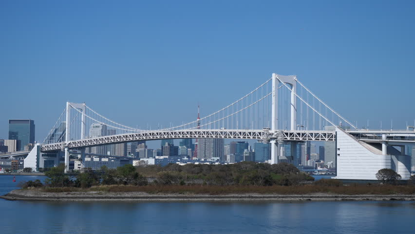 Rainbow Bridge from Odaiba. Filmed in 4K | Shutterstock HD Video #1028627630