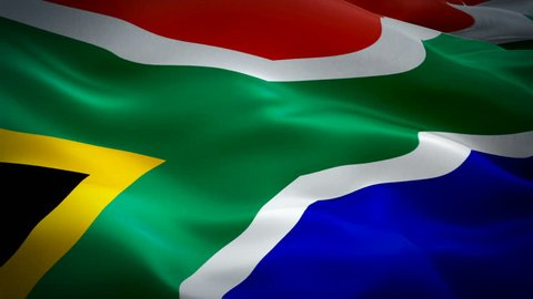 South Africa flag Closeup 1080p Full HD 1920X1080 footage video waving in wind. National Cape Town 3d South Africa flag waving. Sign of South Africa seamless loop animation