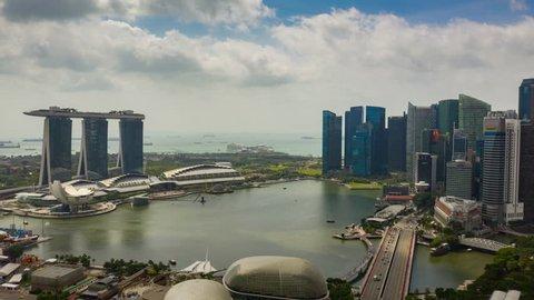 SINGAPORE - FEBRUARY 4 2019: sunny day flight over singapore city famous marina bay aerial panorama 4k timelapse circa february 4 2019 singapore.