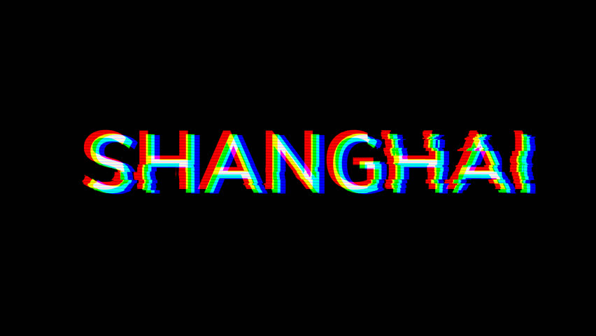 From the Glitch effect arises Big city SHANGHAI. Then the TV turns off. Alpha channel Premultiplied - Matted with color black | Shutterstock HD Video #1028653310