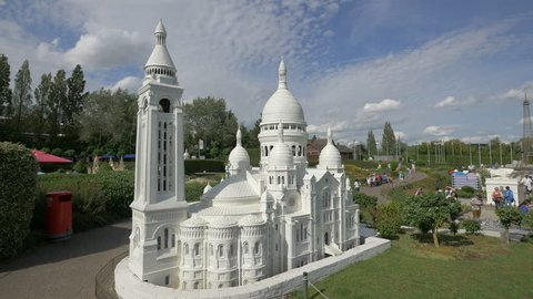 Belgium, Brussels - October, 2016: The Basilica of the Sacred Heart miniature in a park near the Atomium