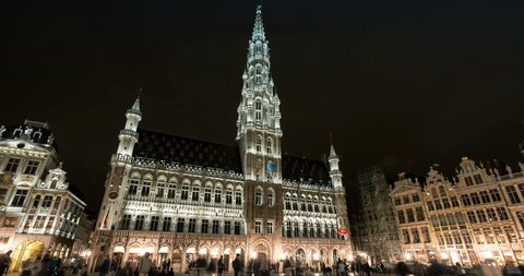Belgium, Brussels - October, 2016: Night timelapse of Grand Place with the City Hall of Brussels