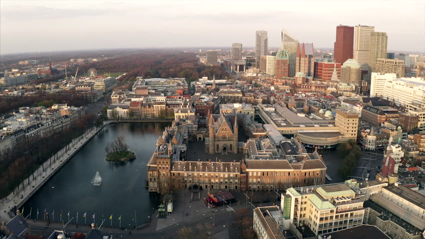 The city center of the The Hague, the Netherlands. The Binnenhof can be seen in the center. | Shutterstock HD Video #1028772920