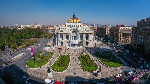 Mexico City, Mexico - January 29, 2019: Zoom in time lapse view of architectural landmark Palacio de Bellas Artes in the Historic Center (Centro Historico) of Mexico City, Mexico, daytime.