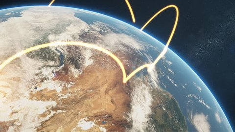 3d animation of a growing network across a realistic earth. Abstract global business network concept. Orange day version. Elements of this image furnished by NASA