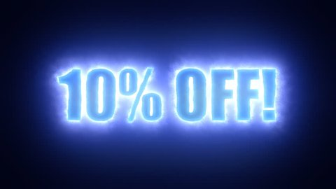 The text 10 percent off, surrounded by an energetic cloud of electricity. Blue tones, black background.