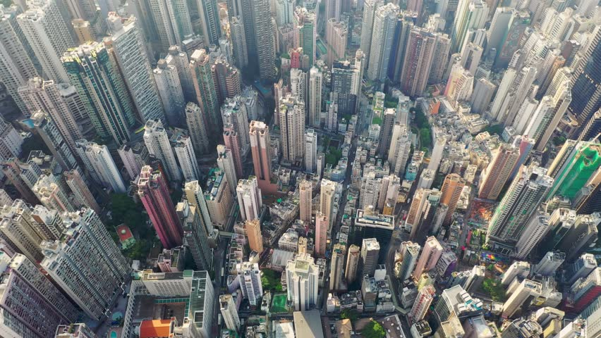 Central, Hong Kong 30 April 2019: Top view of Hong Kong city | Shutterstock HD Video #1028807750