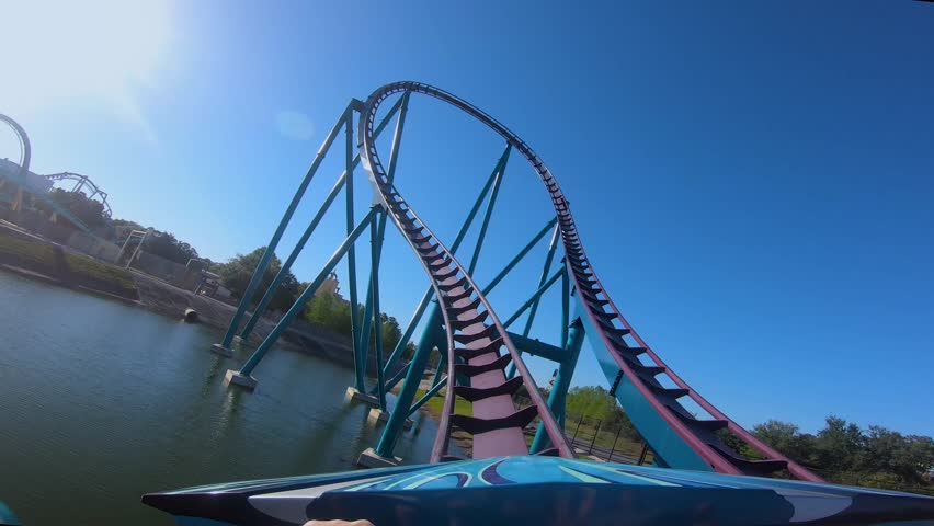 Orlando, Florida. April 15, 2019. Amazing Mako Rollercoaster experience at Seaworld in International Drive area.