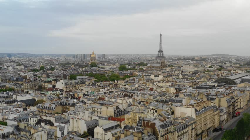 Aerial view of Paris and Eiffel Tower | Shutterstock HD Video #1028882630
