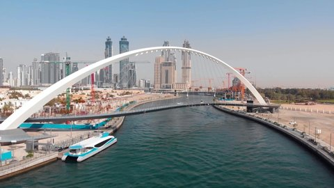 Aerial footage of Dubai water canal in the United Arab Emirates