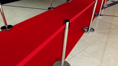 4k footage of long red carpet and barriers on movie or theater awards.