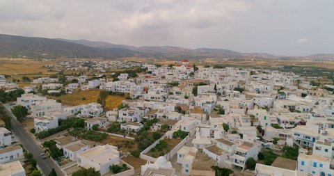 Aerial: Group of Estates in Paros Neighborhood in Paros, Greece