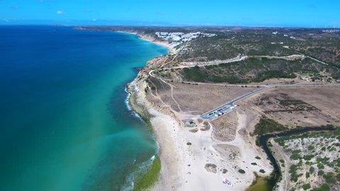 Portugal. Aerial view in Fort Almadena. Praia Cabanas Velhas. Algarve. 4k Drone Video