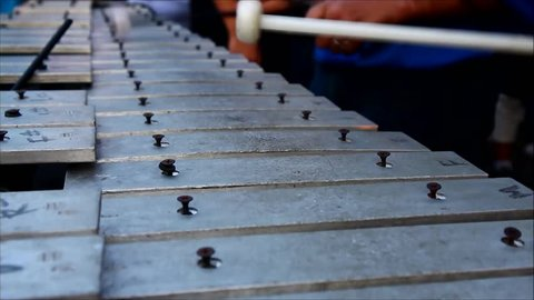 Close up video of hands of members of a marching band playing the lyre or xylophone